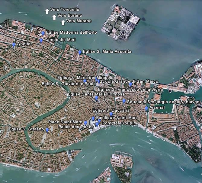 Carte interactive des monuments de Venise